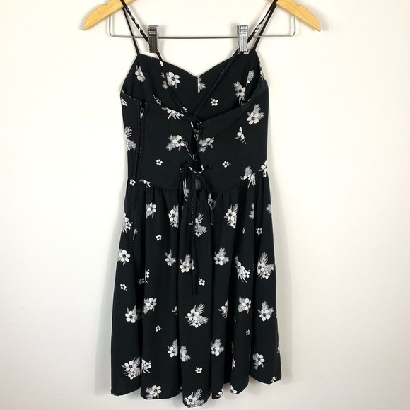 GARAGE Black/White Floral Thin-Strap Mini Dress